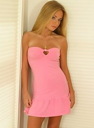 Blonde teen Rachel looking great in this pink dress