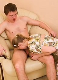 Skinny teen girl gets her pussy worked over on chair