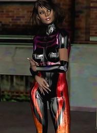 Ultra colorful PVC bodysuit on brunette in 3d!