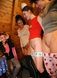 Blindfolded beauty touching clits